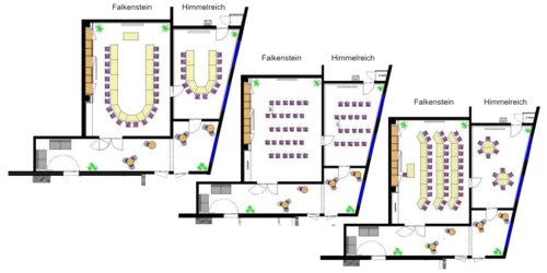 Seating plans of the conference rooms